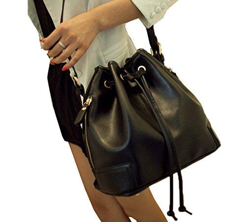 Over Signature Bag Bucket - Top Shop Womens Bucket Rope Barrel Totes Shoulder Messenger Bags Handbags Black Hobos