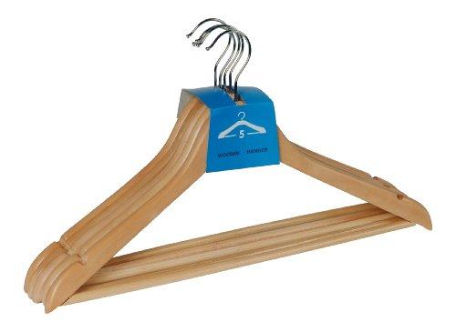 WENKO 17219005100 Formbügel Eco - 5er Set Kleiderbügel , Hosensteg, Rockeinkerbungen, Holz, 45 x 23.5 x 1.2 cm, Braun