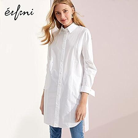 XXIN Camisa de algodón Chica Suelta Long-Sleeved Larga Camisa ...