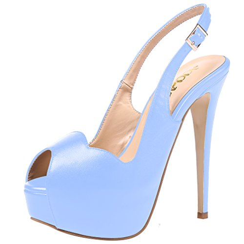 AOOAR Women's Slingback High Heels with Hidden Platform Light Blue PU Party Pumps 6 M US