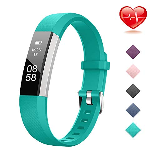 Lintelek Fitness Tracker, Slim Activity Tracker with Heart Rate Monitor, IP67 Waterproof Wristband with Step Counter, Calorie Counter, Pedometer for Android & iOS Smartphone for Kids Women (Best Cheap Fitbit Alternative)
