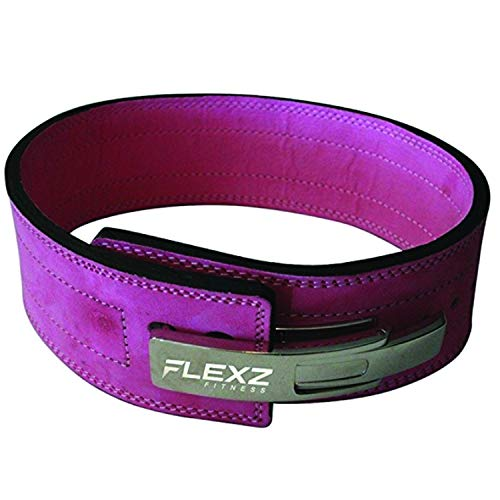Flexz Fitness Lever Buckle Powerlifting Belt 10mm Weight Lifting Pink Small