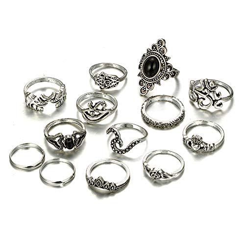 LOLIAS 44-101 Pcs Vintage Knuckle Ring Set for Women Girls Stackable Rings Set Hollow Carved Flowers (F:12 PCS)