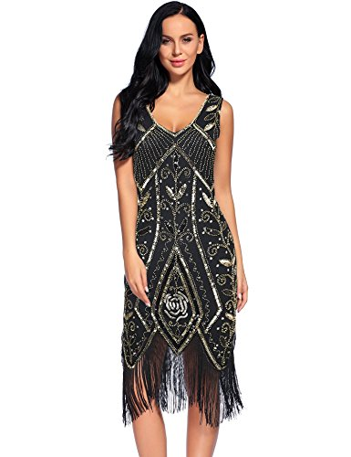 Flapper Girl Women's 1920s Flapper Dress Tassel Sequin Gatsby Costume Dresses (S, Gold) (Flapper Girls Dresses)
