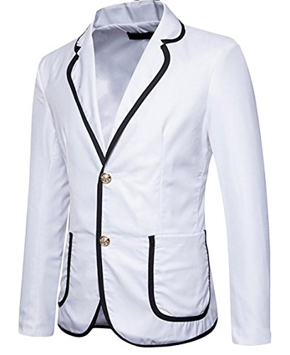 Solid Turn Sleeved Long Breasted Suit Jacket Slim White Single Color Gocgt Men's Down pTptOx