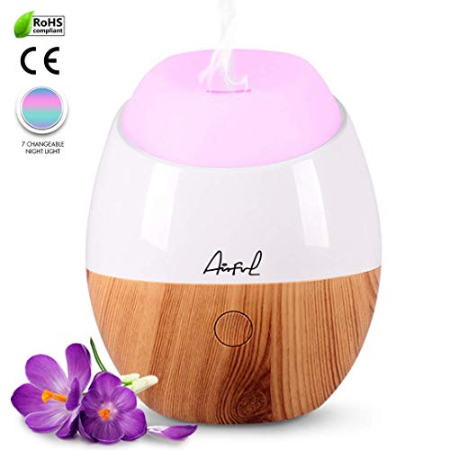 (AirFul Aromatherapy Mini Oil Diffuser Humidifier, 120ml USB Portable Travel Ultrasonic Aroma Difusers for Essential Oils (Light wood grain))