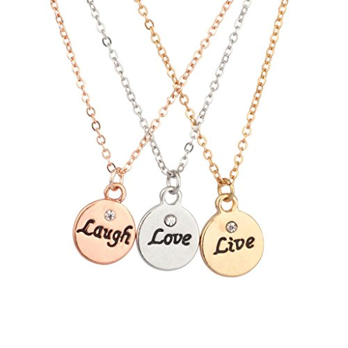 Lux Live Laugh Love Delicate Charm BFF Best Friends Forever Pendant (3 PC)