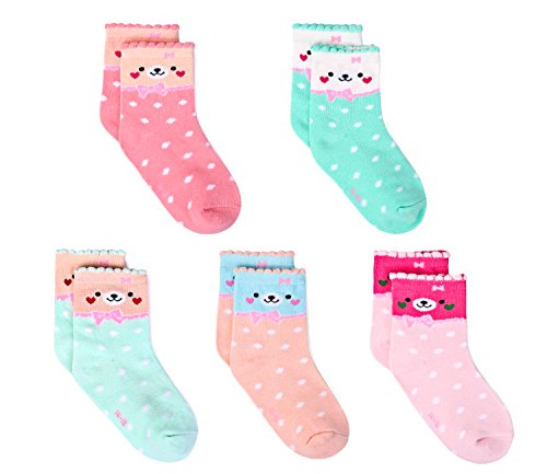 Bobo 5 Pack kids Girls Fashion Cotton and Soft Cute Breathable Socks size2-4