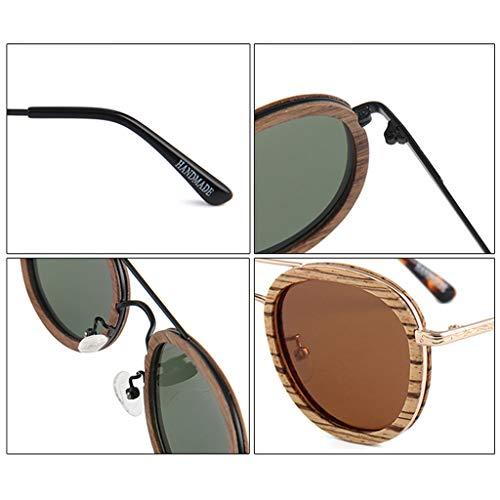 polarizadas Gray Hombres sol la de Gafas Brazo de bambú del los de protección Green Gafas conducción Retro Redondas de del Ultravioleta Marco de del Gafas bambú Metal Color pq6Twp