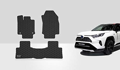 ToughPRO Floor Mats Set (Front Row + 2nd Row) Compatible with Toyota RAV4 - All Weather - Heavy Duty - (Made in USA) - Black Rubber - 2019, 2020