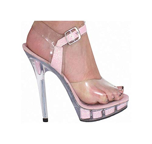 - TRFLH& Women Sandals 13cm Thin High Heels Shoes Woman Ankle Strap Sandals Women Sexy Party Dancing Shoes Pink 8