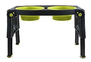 Dexas Popware for Pets Adjustable Height Double Pet Feeder, Gray/Green