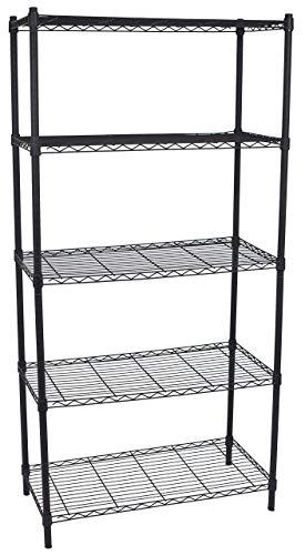 (Internet's Best 5-Tier Wire Shelving | Flat Black | Heavy Duty Shelf | Wide Adjustable Rack Unit | Kitchen)