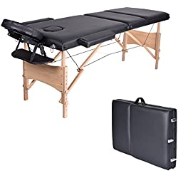 """Massage Table-WELLHOME Wood Treatment Table 3 Section Professional Portable Home Folding Facial SPA Tattoo Bed Black, Load up to 660 lbs,82"""" × 23"""",with Adjustable Face Cradle Carrying Case"""