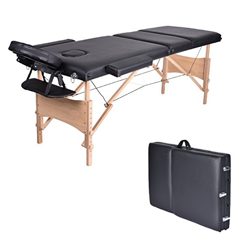Massage Table-WELLHOME Wood Treatment Table 3 Section Professional Portable Home Folding Facial SPA Tattoo Bed Black, Load up to 660 lbs,82″ × 23″,with Adjustable Face Cradle Carrying Case