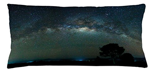 Ambesonne Sky Throw Pillow Cushion Cover, Milky Way Photography Universe from Sabah Borneo East Malaysia South Eastern Asia, Decorative Accent Pillow Case, 36 X 16 Inches, Pale Green Black