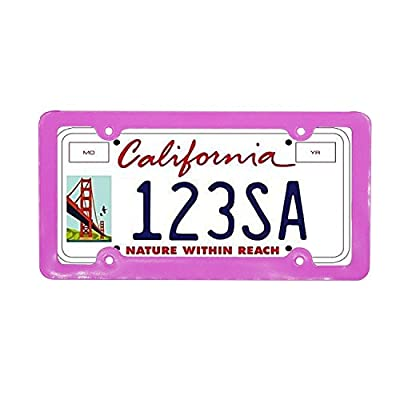 Grosun 2pcs Pink Silm Bottom License Plate Frames with Screw Caps, 4 Holes: Automotive