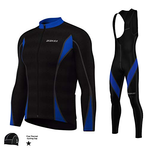 Mens Cycling Bib Tight+Jersey Set Thermal Winter Long Sleeve Bicycling Super Roubaix Tights Free Cap (Small) Black/Blue