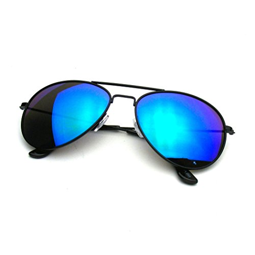 Emblem Eyewear - Premium Classic Metal Frame Reflective Revo Mirror Lens Aviator Sunglasses (Black Green - Blue Reflective Aviators