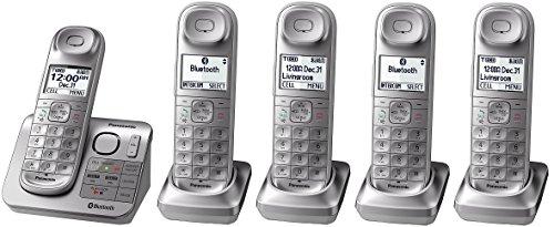 Panasonic KX-TGL463S plus two KX-TGLA40S Dect 6.0 link2Cell Bluetooth 5-Handset Landline Telephone, Silver & White (Renewed)
