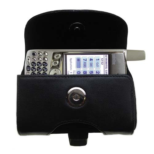 Belt Mounted Leather Case Custom Designed for the Palm palm Treo 600 - Black Color with Removable Clip by Gomadic