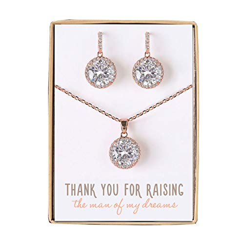 AMY O Gift for Mom, Mother in Law - Necklace and Earrings Jewelry Set in Rose Gold
