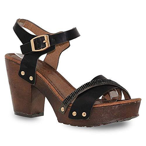 (Z. Emma Women's Open Toe Ankle Strap Rhinestone Decor Wooden Chunky Platform Heeled Summer Sandals VT02 Black 11)