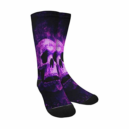 InterestPrint Funny Cute Novelty and Cool Halloween Scary Skull Sublimated Crew Socks (Halloween Skull Printable)
