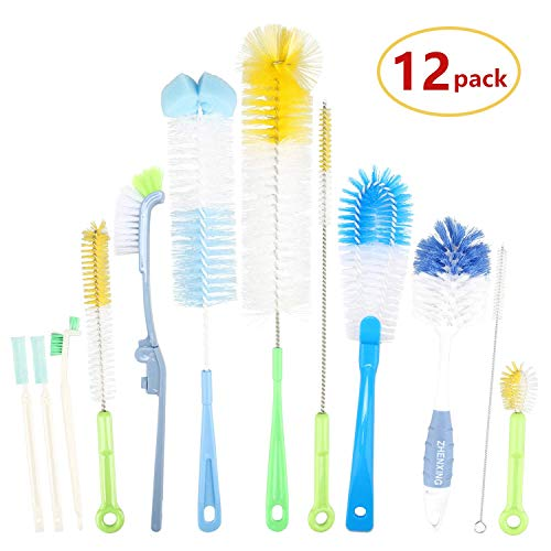 "12 Pieces Bottle Cleaning Brush Set, 16"" Long Bottle Brush Cleaner for Narrow Neck Wide Mouth Water Bottle, Baby Bottle, Hummingbird Feeders, Coffee Grinder and Sport Bottles with Long Handle"