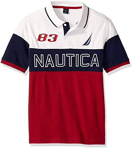 Nautica Boys' Short Sleeve Heritage Polo Shirt, Ahull Red Rouge, Large (14/16) ()