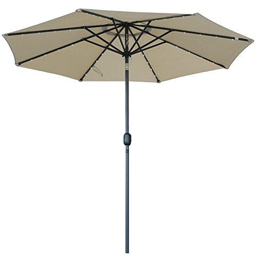 Square Garden Parasol (SNAIL 9' Solar Powered LED Patio Umbrella with 32 Lights, Fade Resistant Garden Aluminum Table Umbrella with Push Button Tilt, Beige)
