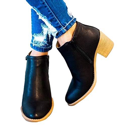 Moda Lateral Cabeza Invierno Cremallera Otoño 3 35 Botas Sólido Talón Negro EU Redonda Botines Botas Cuero Tacón Color Colores Mujer Grueso Grande Tamaño 42 Medio Martin Zapatos qwTtt0