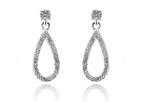 Jewels Fashion 925 Sterling Silver Micro Pave Hand Set Cubic Zirconia (CZ) Round Diamond Shaped Dangling Loop Earrings. (Micro Pave Earrings)
