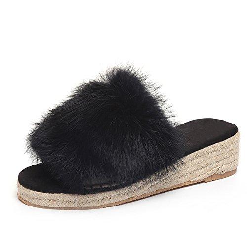 Caro Tempo Zeppe In Ecopelle Scivoli Morbidi Espadrillas Donna Slip On Slipper Shoes Black