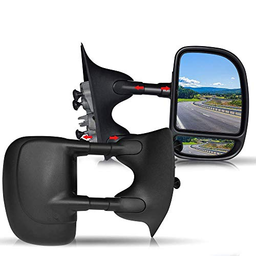 T-Former DOT Approved Black Towing Mirrors Manual Towing Mirrors Passenger and Driver Side Mirrors For Pickup Truck 1999 2000 2001 2002 2003 2004 2005 2006 2007 Ford F250 F550 (Pickup 1999 Ford F-250)