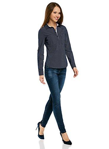 Donna Ultra Tasche Petto Camicia Blu sul con Basic oodji 7910d T5vwxT