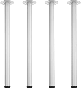 ALAULM Metal Desk Legs 28 Inch Set of 4, Height Adjustable Office Table Legs Modern Furniture Leg with Floor Rubber Protectors-DIY Project for Computer Desk/Coffee Table/Dining Board (White)