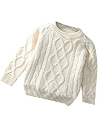 f49a68c24d Boy and Girl Trendy Knitted Fleece Lined Crew Neck Pullover Jumper Sweaters