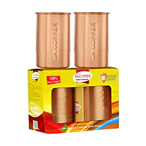 Dr. Copper Set of 4 Seamless Pure Copper Glasses - 300ml Each,Drinking Serving Water