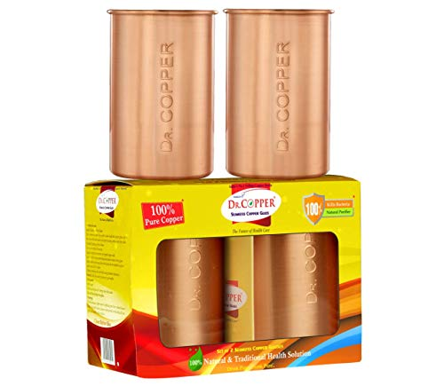 Dr. Copper Set of 2 Seamless Pure Copper Glasses – 300ml Each Drinking Serving Water Price & Reviews