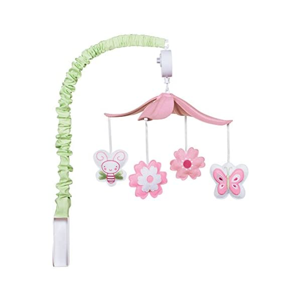 Trend Lab Felt Floral Musical Crib Mobile, Butterfly and Bees Baby Mobile, Floral and Butterflies Nursery Décor