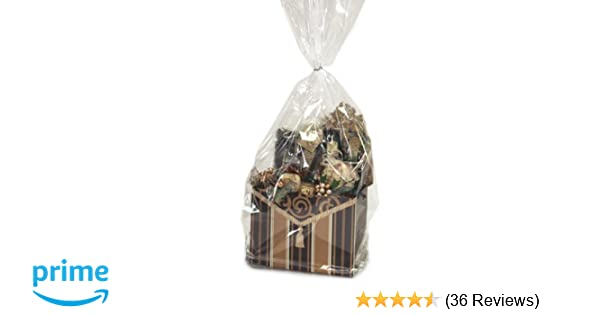 6 x Gingerbread Man design Clear cellophane cello Basket Bags packaging wraps
