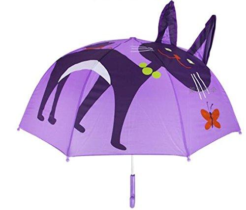 Itian Parapluie pour Enfants, Parapluie de Pluie pour Garçon et Fille avec Oreilles 3D, Chat Parapluie de Pluie pour Garçon et Fille avec Oreilles 3D