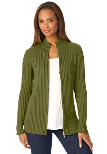 Ribbed Cotton Cardigan With Zip Front – 22-24, Moss Green