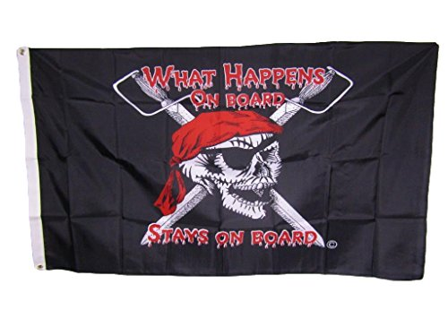 ALBATROS 3 ft x 5 ft Jolly Roger Pirate What Happens Board Stays on Board 220D Nylon Flag for Home and Parades, Official Party, All Weather Indoors -