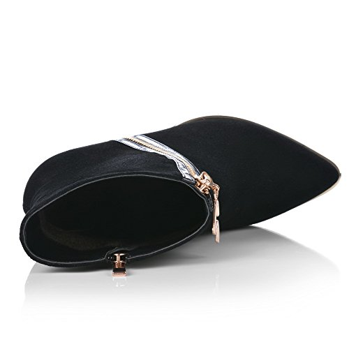 Curves Pointed Style and Non AmoonyFashion Women's Slipping Sole Closed toe Kitten toe with Boots Blackfrosted heels 5xOHSx7q