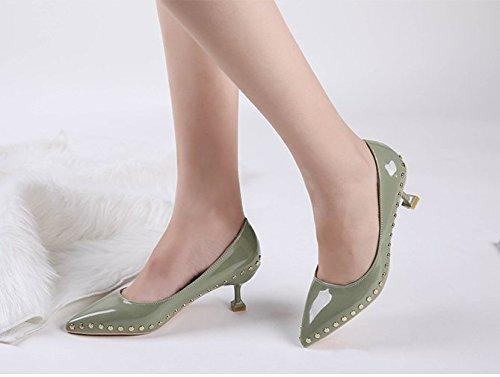 Muelle Solo con Alto GAOLIM Zapatos Zapatos Alto La Shoes Talón Remache Luz 5Cm Finos A De del Boca Punta verde El Heel del con Superficial Y 3 wYrxOq0Y