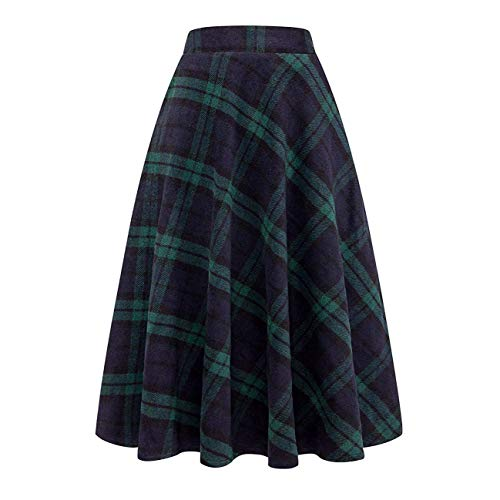 Tartan Wool Skirt - Nantersan Women's Flare Long Plaid Skirt Autumn Winter Warm High Elastic Waist Maxi Skirt A-line Plaid Skirts