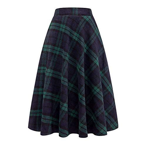 (Nantersan Women's Flare Long Plaid Skirt Autumn Winter Warm High Elastic Waist Maxi Skirt A-line Plaid Skirts)