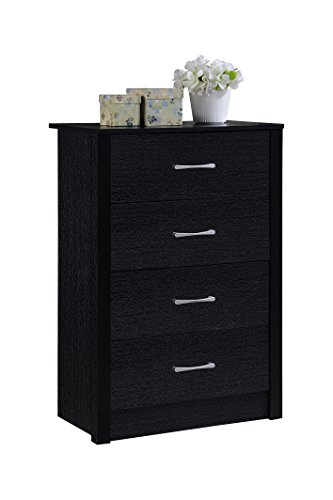 Black Drawer Chest Finish (Hodedah 4 Drawer Chest, with Metal Gliding Rails, Black)